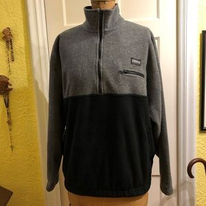 BME fleece sweater, gray/ black. New XL. USA